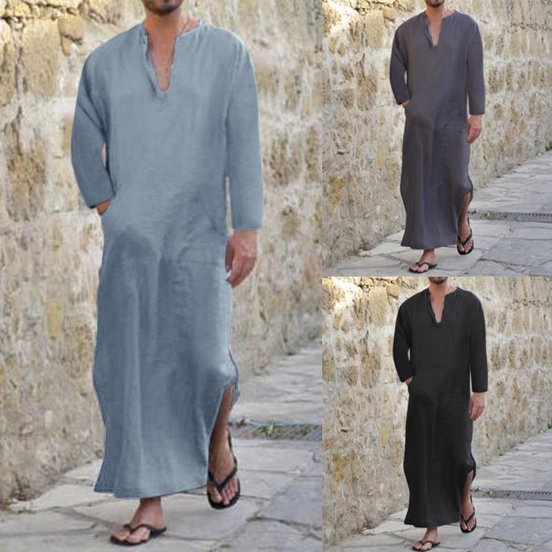 INCERUN Men Shirt Cotton V-neck Long Sleeve Tops Pockets Tops Long Shirts Loose Islamic Arab Kaftan Men Clothes Plus Size S-5XL