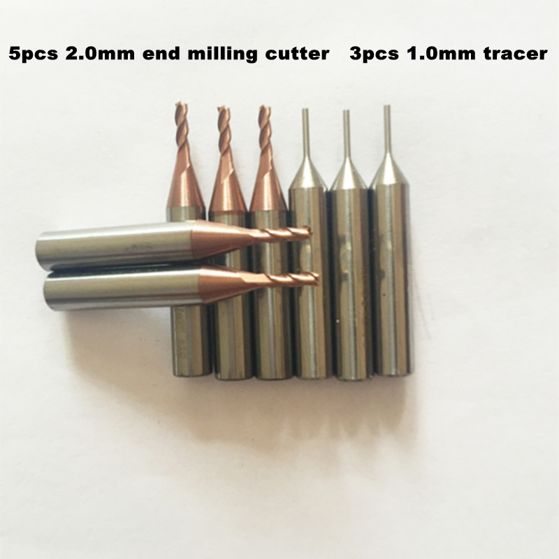 wholesale price 5pcs 2 0mm end milling cutter 2 0x6x40 and 3pcs 1 0mm tracer 1