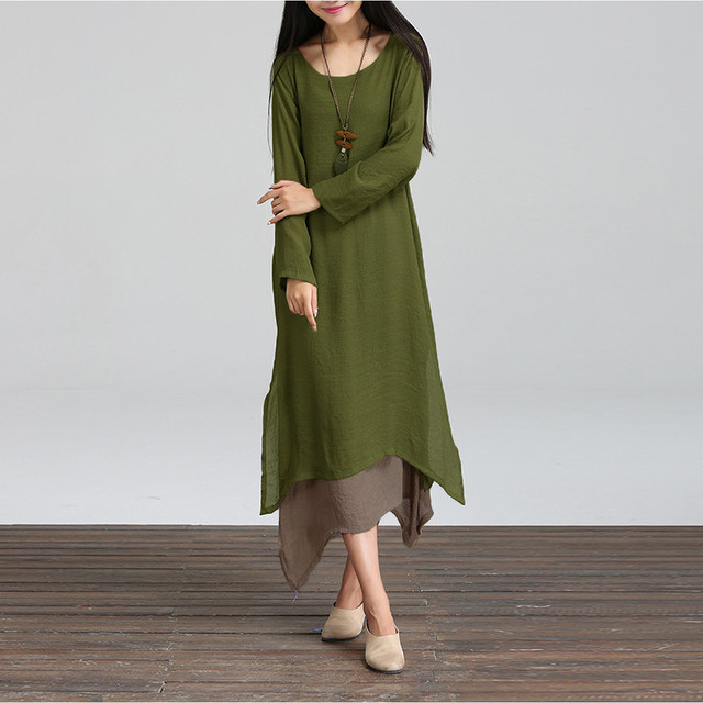 Новая Осень Хлопок Белье Старинные Dress 2017 Женщины О-Образным Вырезом С Длинным Рукавом Случайные Свободные Boho Длинные Платья Vestidos Плюс Размер S-5XL