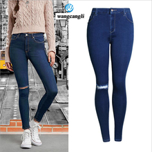 Capri skinny women boyfriend jeans femme 2017 Fashion washed brushed jeans thin high waisted cowboy woman trousers summer pants