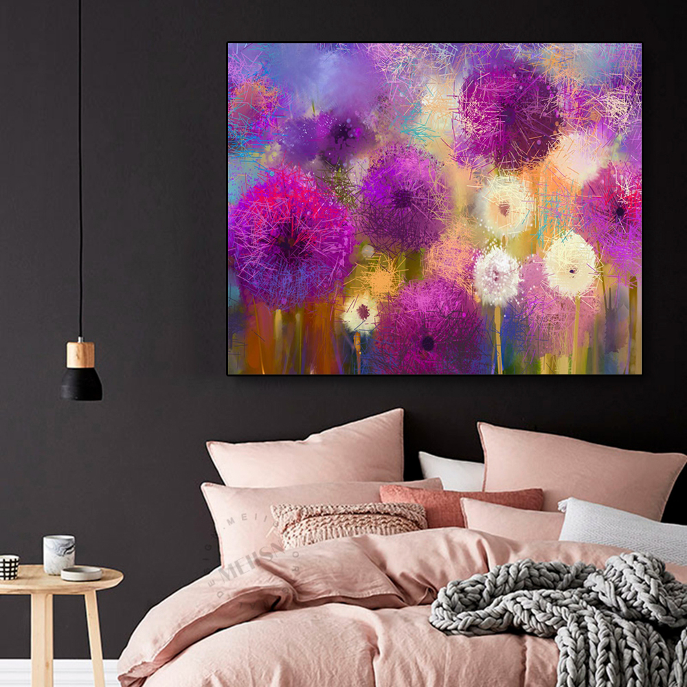 Laeacco Canvas Calligraphy Painting Watercolor Graffiti Flowers Garden Wall Art Pictures for Living Room Bedroom Home Decoration in Painting Calligraphy from Home Garden