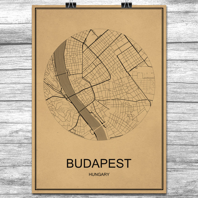 BUDAPEST Round World City Map Krafts Paper Vintage Retro Poster Wall - Vintage budapest map