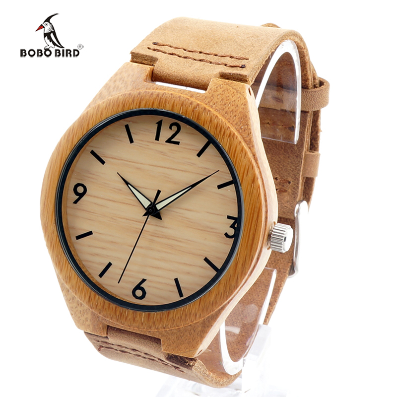 BOBO BIRD 2017 Mens Watches Brand Luxury Quartz Wooden Wristwatch Leather Strap Male Bamboo Watch relogio masculino