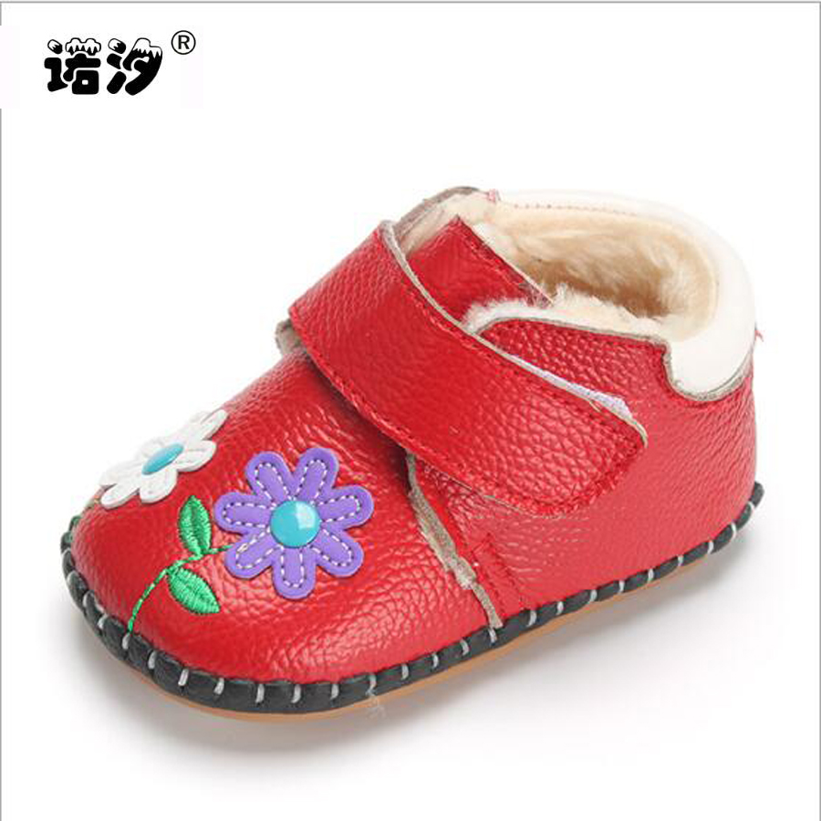 New born Genuine leather shoes baby Girls Soft winter plush inside warm Infant Shoes First Walkers kids soft Toddler shoes baby
