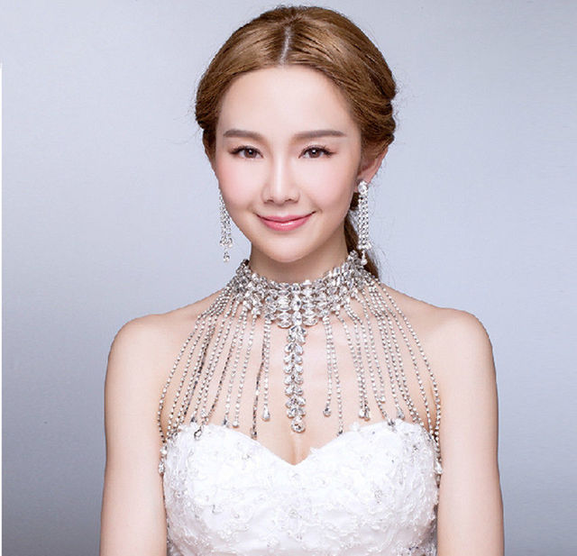 High End Bridal Rhinestone Shoulder Chain Halter Neck Wedding Dress