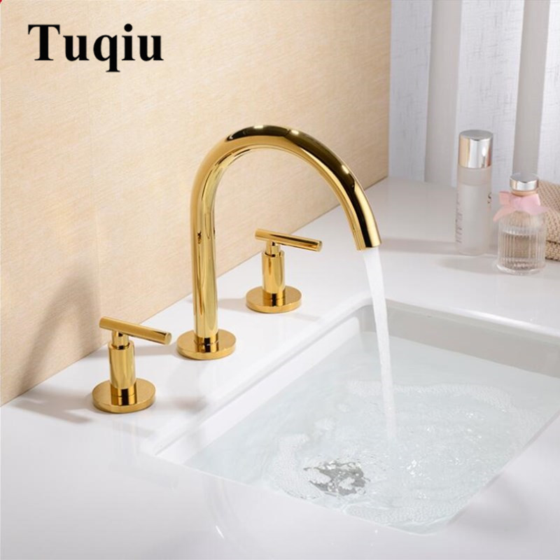 Basin Faucets Polished gold North American style Bathroom Sink Faucet widespread 3 Hole Bathroom basin Mixer