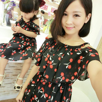 1pc Mother Daughter Dresses Clothes Family Matching Summer Outfits Mom Girl Fashion Short Floral Sets Vetement