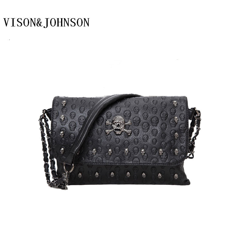 VISON JOHNSON Fashion Skull Women Messenger Bags Rivet Envelope Mini Clutch Bags Envelope Crossbody Punk Shoulder