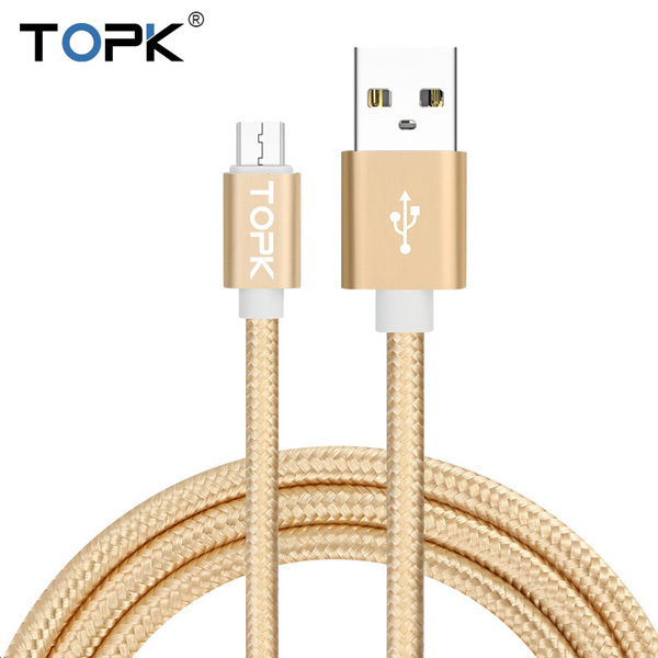 TOPK Ultra Durable Nylon Braided Wire Metal Plug Data Sync Charging Data Micro USB Cable for Samsung Xiaomi Huawei HTC