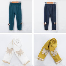 купить Funfeliz Autumn Winter Girls Legging Warm Fleece Ruffle Pants for Kids 10 Colors Children Leggings 1-12 Years Girls Trousers по цене 466.99 рублей
