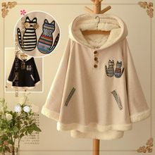 Autumn and Winter Fashion Cute Cartoon Cat Loose Cape Plus Velvet Thick Female Casual Hooded Jacket Coat