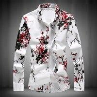 High Quality 7XL RED Men's Plum Blossom White Shirt 2019 New Fashion slim fit Long Sleeve Men Shirts Flowers Blouse #7508