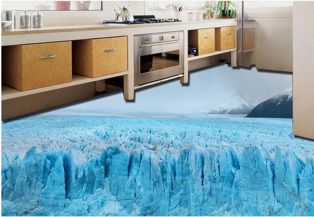 Vinyl Flooring Waterproof Custom Stereoscopic Wallpaper Glacier Snow Bedroom Floor Tiles