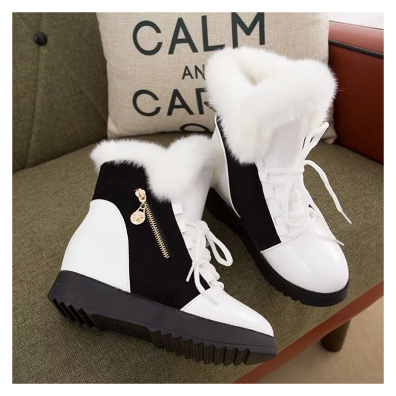 COSIDRAM Increased Within Snow Boots Women Warm Winter Shoes Wedges 2017 Fashion Plush Ankle Boots Ladies Botas BSN-060 2017 women snow ankle boots female wedges fox fur winter boots warm australia fashion ladies shoes botas