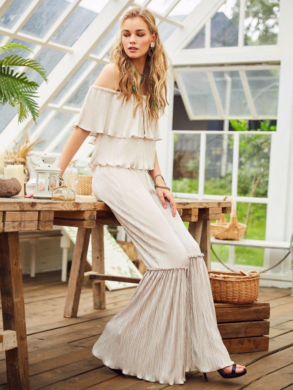 Women's Clothing Popular Brand White Slash Neck Jumpsuit Long Bohemian Romper Women Backless Ruffles Flare Pant Elegant Fashion Office Casual Boho Jumpsuits
