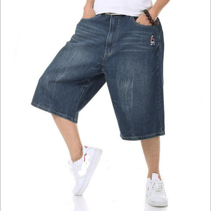 a0502412015 2018 Summer Plus Size Wide Leg Jeans Shorts Male Skateboard Swag Baggy Men  Capri Denim Pants 42 46 44
