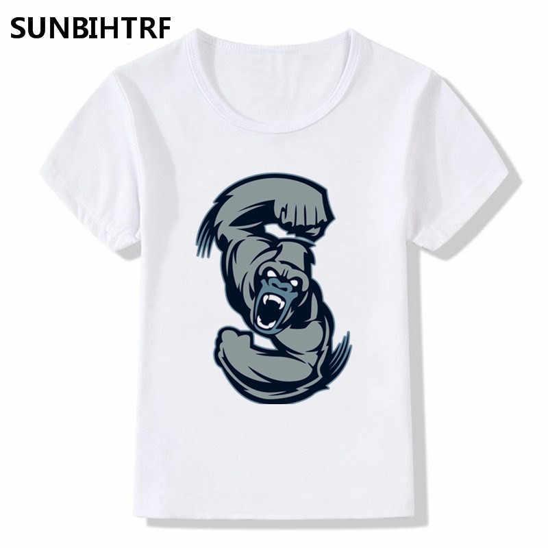 2018 Детский мультфильм вой Горилла печати прикольные футболки Для детей, на лето топы для больших мальчиков/девочек короткий рукав детская одежда футболка