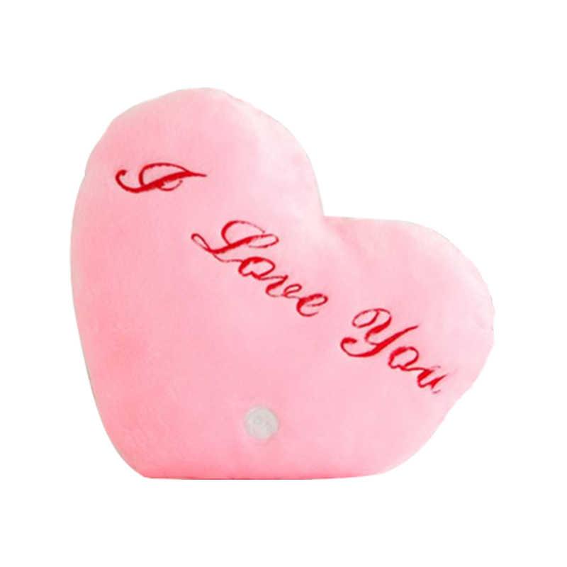 Светящаяся Подушка с сердцем, короткие плюшевые мягкие игрушки, музыкальный свет, светящийся светодиодный плюш, мягкая игрушка для детей, подарок на день рождения, Рождество
