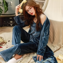 BZEL Pyjamas Women's Sexy Pajamas Sets Winter Woolen Women's Pijama Femme Long Sleeve Ladies Sleepwear Female Casual Home Wear