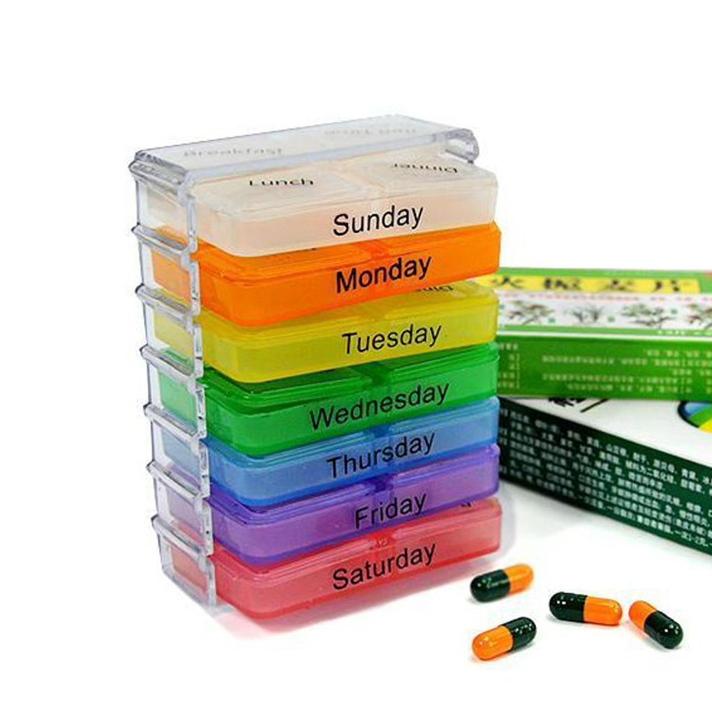 Practical pills stored for 7 days per week sorting box container 28 grid