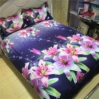 Home Textile Elegant 4pcs 3D Bed Linen Set Beautiful Floral Duvet Cover Set Bed Cover Set Bedclothes Bedding Set for King Size