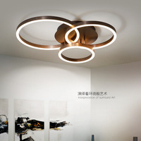 Modern Minimalism Remote Control Dimmable Led Chandelier Coffee Drawing Metal Circle Ceiling Chandelier Luminarias Lustre Lamp