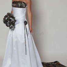 VStextile style strapless camo camouflage wedding dresses