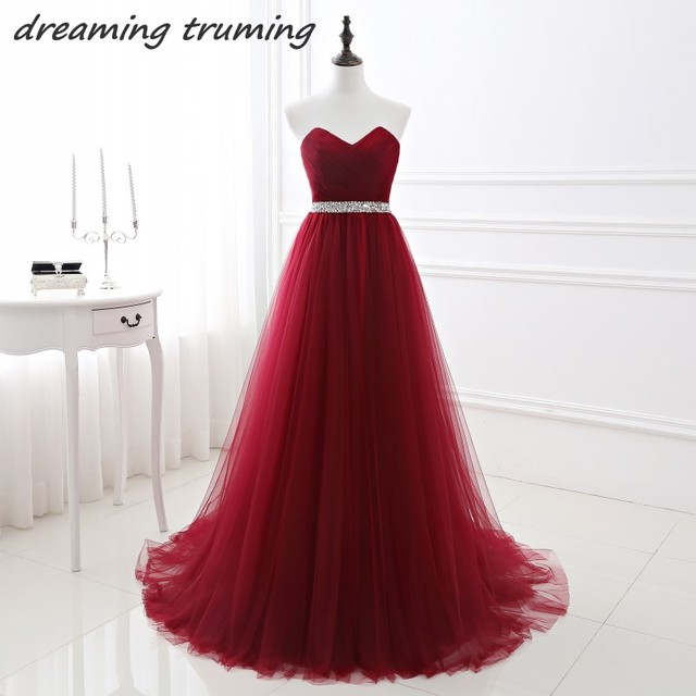 Real Photos Burgundy Prom Dresses With Sequin Sash Women Tulle A Line Wine  Red Formal Dresses Evening Wear In Stock d01eba717aa4