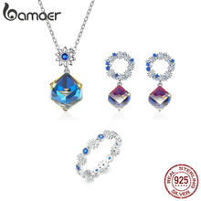 bamoer Earring ring and Necklace Austria Crystal Cube Jewelry Sets Luxury Female Jewelry Bijoux Daisy Flower Design ZHS143(China)