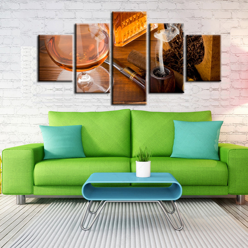 5 Pieces Factory wholesale Cigar series Art Print Poster Wall Picture Canvas Painting Framed Home Decor still life 19 in Painting Calligraphy from Home Garden