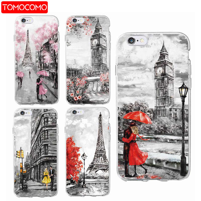 Fashion London Paris New york Lover Autumn Maple Soft Phone Case For iPhone 6 6S 6Plus 7 7Plus 5 8 8Plus X XS Max SAMSUNG S8