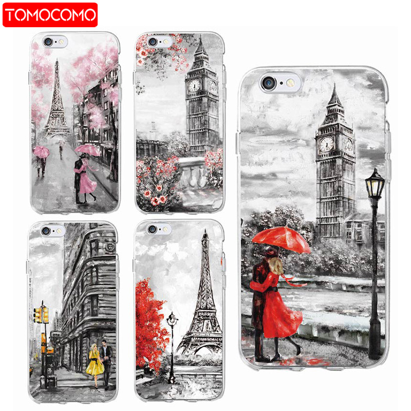 TOMOCOMO Fashion London Paris New york Lover Autumn Maple Soft Phone Case For iPhone 6 6S 6Plus 7 7Plus 5 8 8Plus X SAMSUNG S8