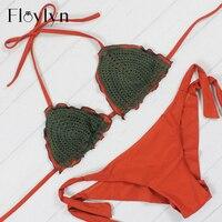 Floylyn Brezilyalı Bikini Kadınlar Seksi Halte Bikini Set Yastıklı Düşük Bekleyin Katı Külot Bandaj Sıcak Satış Biquini Mayo