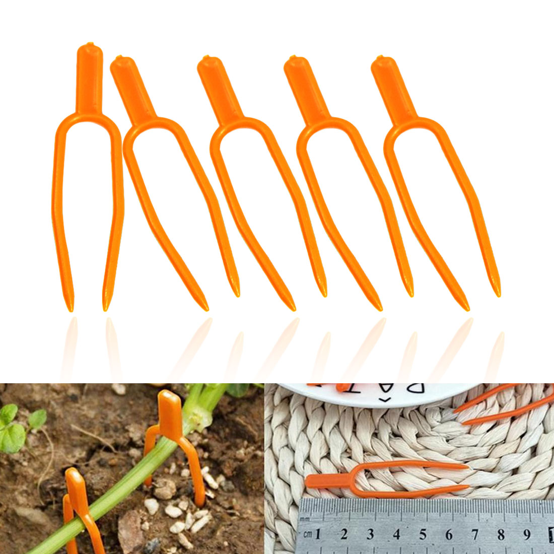 50pc Plastic Plant Clips Stolons Fixing Fastening Fixture Clamp Strawberry Fork Farming Clip Garden Tools