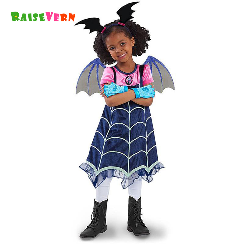 Girls Vampirinas Cosplay Costumes Kids Party Dress Girls Children Performance Clothing Headband Novelty Dresses аксессуары для косплея neko cosplay
