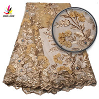 Hot Selling Gold Color Mesh Lace Embroidered 3D Flower French Lace Fabric Beads African Nigerian Lace