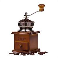 Vintage Mini Cranked Coffee Grinder Manual Coffee Mills Wood Stand Hand Coffee Beans Grinder Home Travel