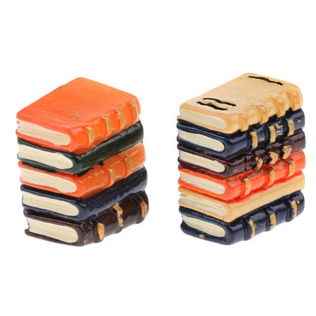 1/12 Scale Miniature Resin Books For Doll House 2 pcs Set