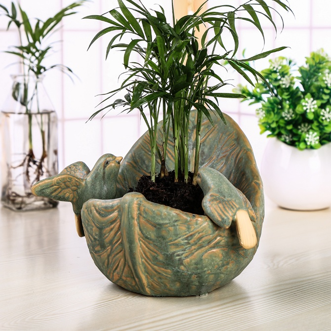Ceramic Bird Lovers Figurines Plant Pot Decorative Leaf