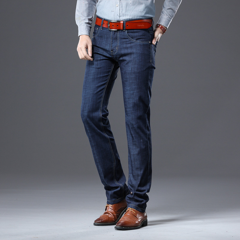 B.C.FIGURE Quality Anti Wrinkle Thin Soft Stretch Denim Straight Business Casual Jeans Men Size 28-40
