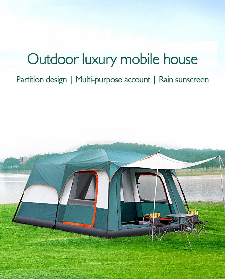 Tanxianzhe Explorer extérieur 2 chambres, 8-10 personnes, tente imperméable familiale, camping sauvage pour plusieurs personnes, grande tente