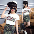 2016 clothing set  kids clothes girls summer new skirt set children camouflage letter Two-piece children's clothes