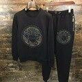 2017 embroideryshort рукав Футболки и брюки два-pieceJiarong утолщение