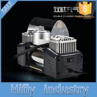 Cigarette Lighter and Battery Dual Use Low Noise 12v Air Compressor Car Tyre Inflator Double Cylinder Metal Car Tire Inflator