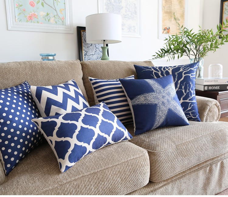Sea style Coral starfish Printed Bed Sofa Cotton Linen Cushion Cover Home Geometric Decorative Throw Pillow case Almofadas