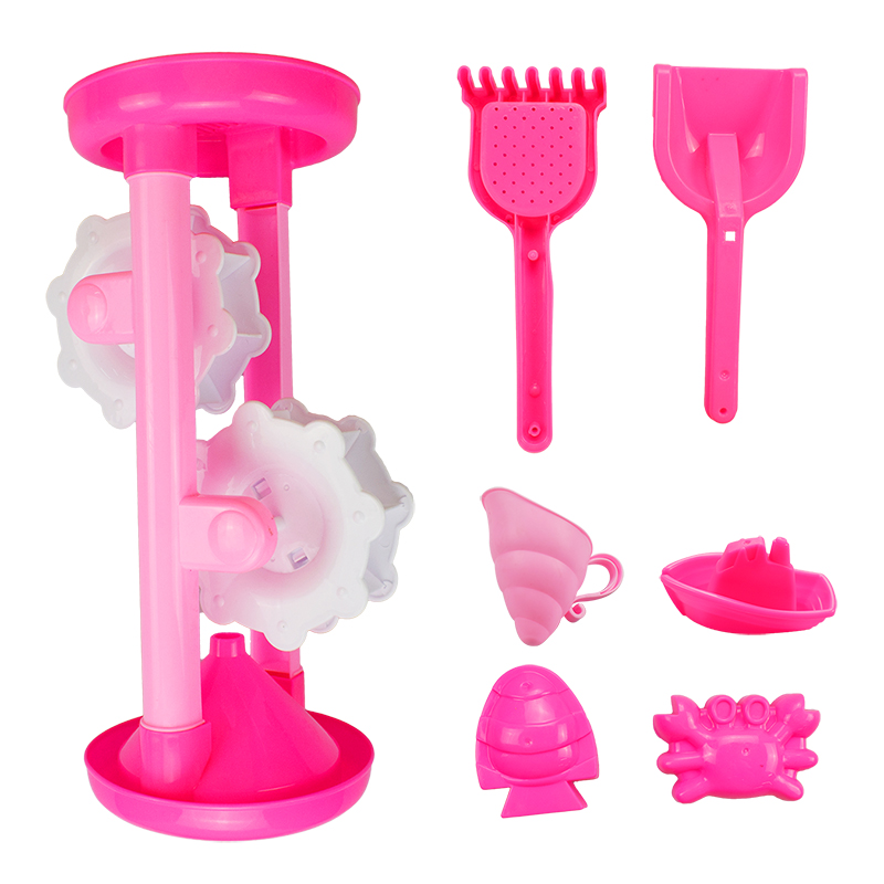7 Pcs/Lot Summer New Pink Sandglass Outdoor Beach Toys Stall Selling for Childrens Beach Toys Set