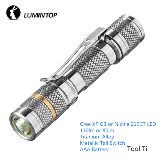 LuminTop Tool Ti AAA Flashlights Aircraft Grade Titanium Alloy Torch Lamp Daily Use Stainless Steel Clip LED Flashlight