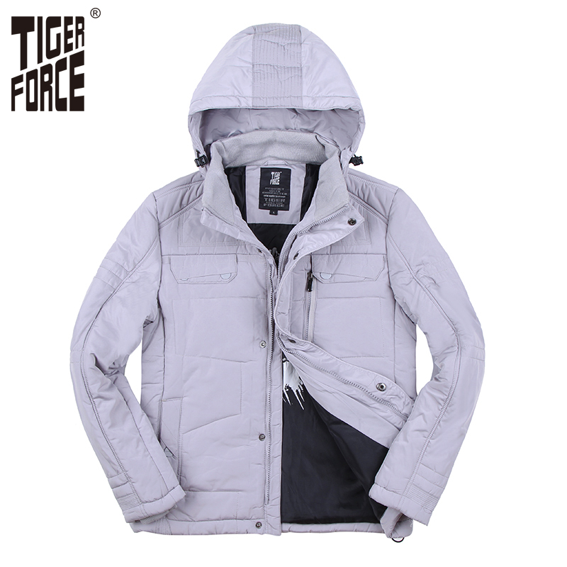 TIGER FORCE 2017 New Collection Men Parkas Fashion Cotton Jacket Casual Padded Coat Nylon Solid Zipper Free Shipping 7718