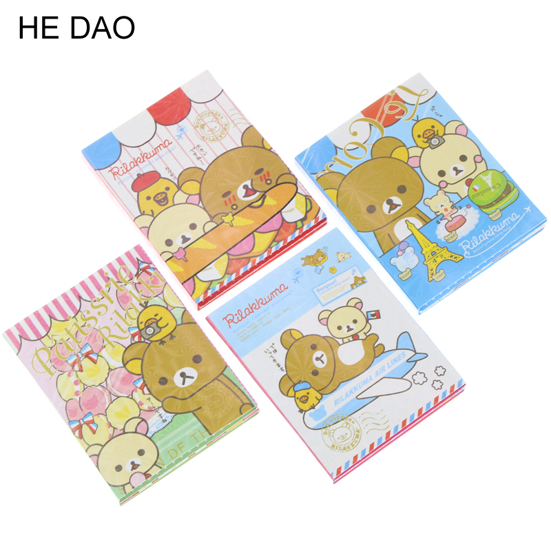 Kawaii Rilakkuma 4 Folding Memo Notepad Note Book Memo Pad Sticky Notes Memo Set Gift Stationery KCS emoshire 4 set of notebooks stationery creative gift bag chinese style retro memo pad diary note book notepad n059