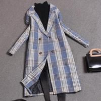 Women Wool Coat Plaid Women long double Breasted Woolen Coats Winter Coat Woolen Overcoat